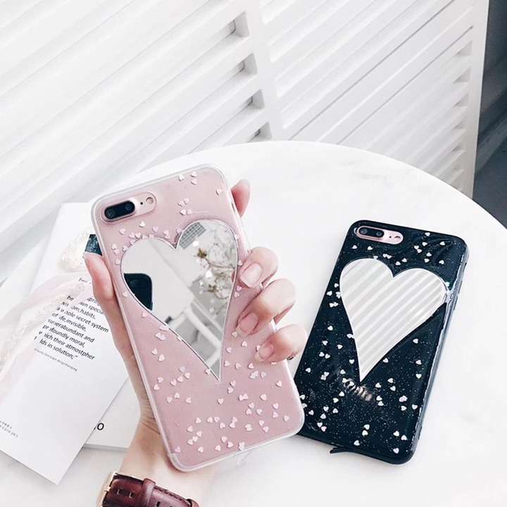 Mobile Phone Case with Love Heart Shape Mirror Beautiful Glitter Powder  Unique New Cellphone Back Cover Case for iPhone 7/8 Plus mobile phone  cases case for iphonephone cases - AliExpress