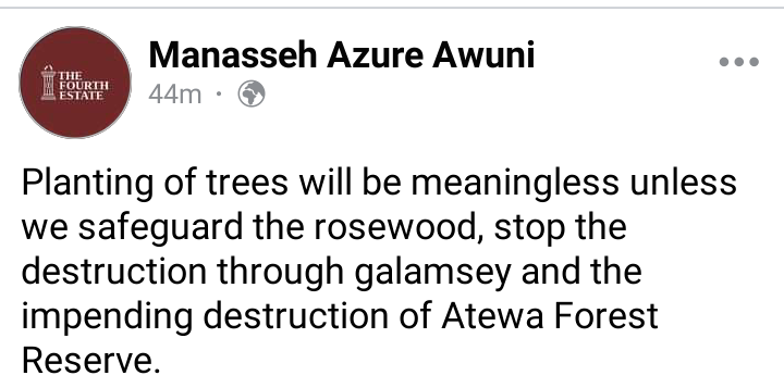 """""""Planting of trees with an amount of Gh¢ 125,000000 is meaningless if…"""" – Manasseh Azuri Awuni. 48"""