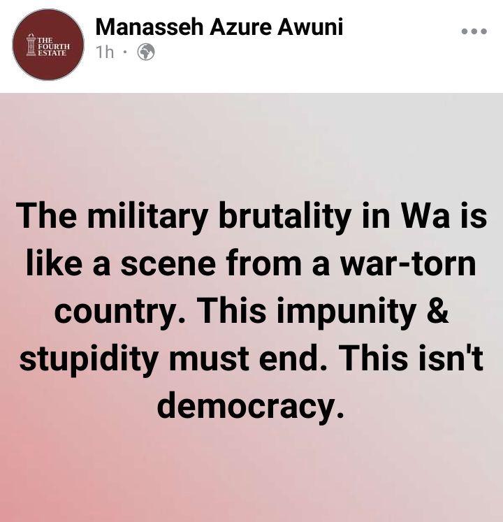 Military Brutality In Wa: Manasseh Azure Blasts The Military Leaders 1