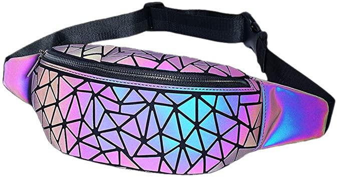 Amazon.com | Fanny Packs Geometric Luminous Bum Bag Holographic Metallic  Waist Pack Holo Fat Belly Fanny Pack Rave Funny NO.1 | Waist Packs