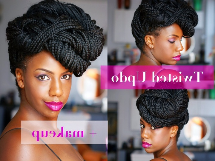 Natural Hair Flat Twist Updo Protective Hairstyle – Youtube Throughout Braids And Twist Updo Hairstyles (View 9 of 15)